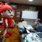 【放送部】みえ高文祭をPRするためみえびぃが来校しました